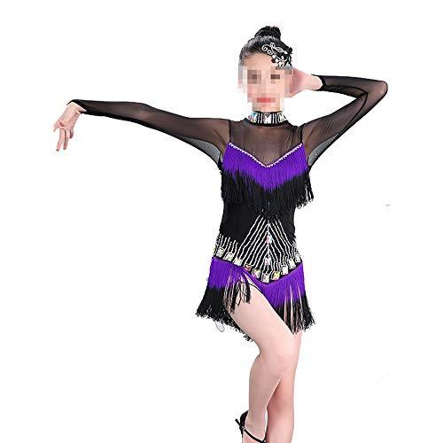 Asffdhley Vestido de Baile Latino para niñas Vestido de Baile Latino con Flecos para niños Disfraces de Baile Ropa de Baile Latino Top para Bailar Samba Lum Samba Disfraces de Baile para niños niñas