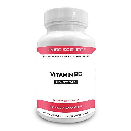 Pure Science Vitamina B6 (clorhidrato de piridoxina) 100 mg con 5 mg de BioPerine...
