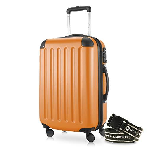 HAUPTSTADTKOFFER - Spree - Kabinentrolley + Gepäckgurt, Handgepäck Hartschale mit Erweiterung, TSA, 4 Rollen, 55 cm, 42 Liter, Orange