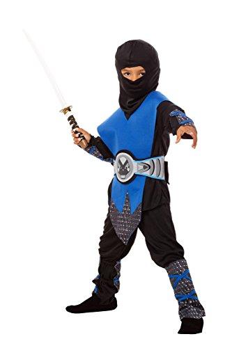 Ninja Kostüm Kinder blau - komplettes 6-teiliges Kinder Ninja Kostüm für Jungen in blau-schwarz (122/128) (Herstellergröße: 120-130 - M)