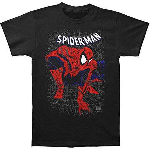 Camiseta ajustada de tela de Spider-Man, para adulto Negro Negro ( S