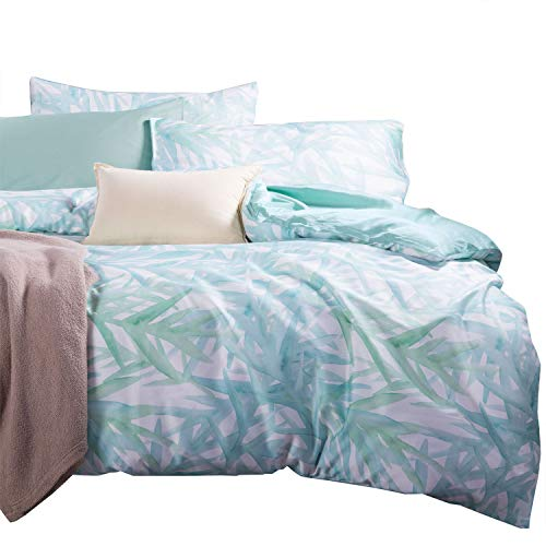 Wake In Cloud - Bamboo Duvet Cover Set, Sateen Cotton Bedding, Watercolor...
