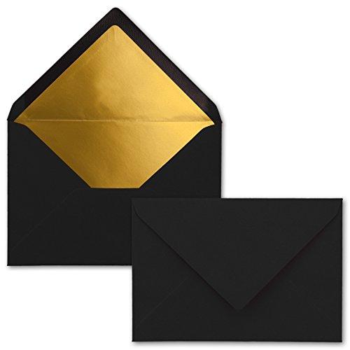 Kuverts in Schwarz - 25 Stück - Brief-Umschläge DIN C6-114 x 162 mm - 11,4 x 16,2 cm - Naßklebung - Matte Oberfläche & Gold-Metallic Fütterung - ohne Fenster - für Einladungen