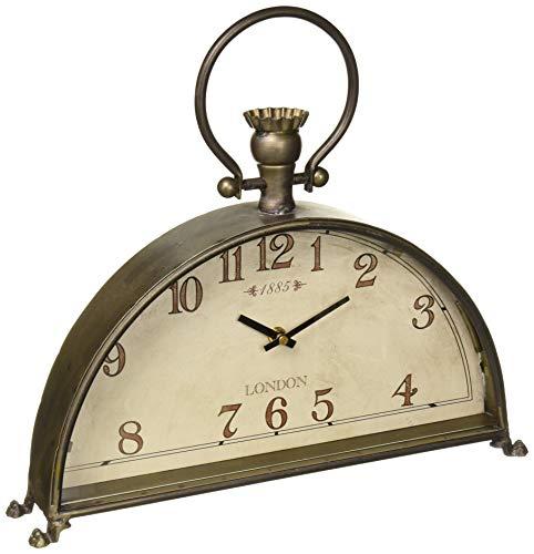 Melrose International Desk/Mantle Clocks Vintage Design Metal/Glass (Metal Work Gothic)