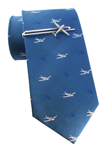 Unbekannt Flugzeug Seidenkrawatte dunkelblau + Krawattennadel Segelflugzeug antiksilbern Set + Geschenkhülle + Geschenkbox