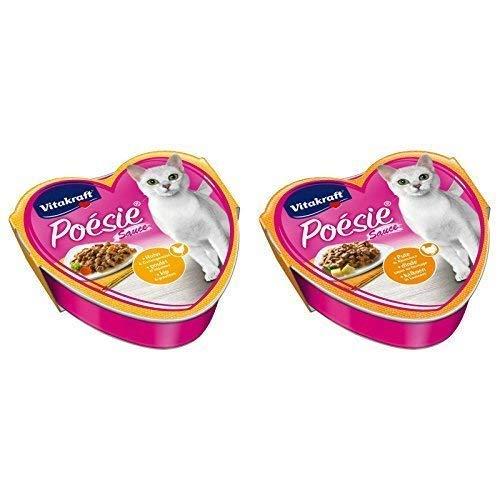 Vitakraft Katzenfutter Poesie - 15x Huhn und Gartengemüse + 15x Pute in Käsesauce