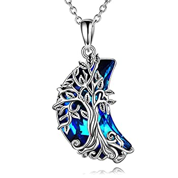 POPLYKE Celtic Tree of Life Wrapped Crescent Moon Pendant Necklace for Women Sterling Silver Family Tree Necklace with Blue Moon Crystal Jewelry for Gilrs