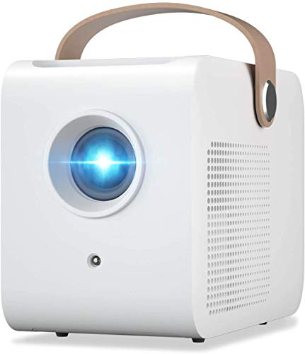 Sanyipace Mini Portable Projector, Small Pico Size and Fully Enclosed for Outdoor Movie Support 1080P Video,Kids Gift, 50,000Hrs LED Life and Compatible with TV Stick, PS4, HDMI, TF, AV, USB