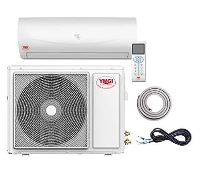 YMGI 9000 Btu 16 SEER Ductless Mini Split DC Inverter Air Conditioner Heat Pump System - 115 Volt with Free 15 Feet Installation Kit