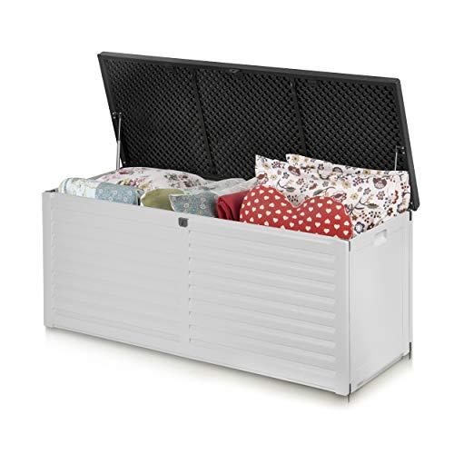 Plonos Auflagenbox Gartenbox Gartentruhe mit Sitzfunktion 143 x 57,5 x 51 cm 390 Liter