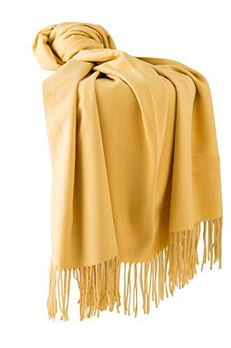 Dolamen Unisex Damen Herren Schal Schlauchschal mit Fransen, Winter Feinstrick Halstücher Stolen Umschlagtücher Schal, Warmes Halstuch für Business (78.74 * 27.56 zoll (200cm*70cm), Gelb)