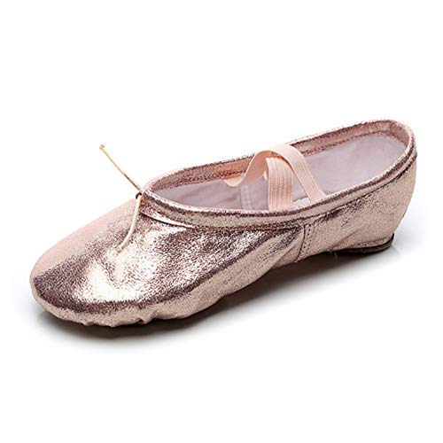 RUYBOZRY Zapatillas de Ballet con Suela Partida Rosa de Piel sintética Suave para niñas y Mujeres,Modelo-TJ-Ballet-SJPU,Rosa,29 EU