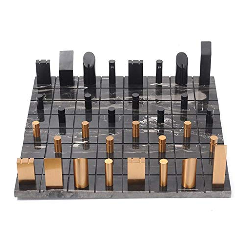 SYue Ajedrez Internacional Ajedrez Juegos de ajedrez para Adultos Tablero de ajedrez de mármol Piezas de ajedrez de Metal