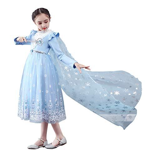 Vestido Elsa para niñas, disfraz de princesa congelado, 2, reina de la nieve, disfrazarse de carnaval, Halloween, Navidad, cosplay con tul largo capa de princesa