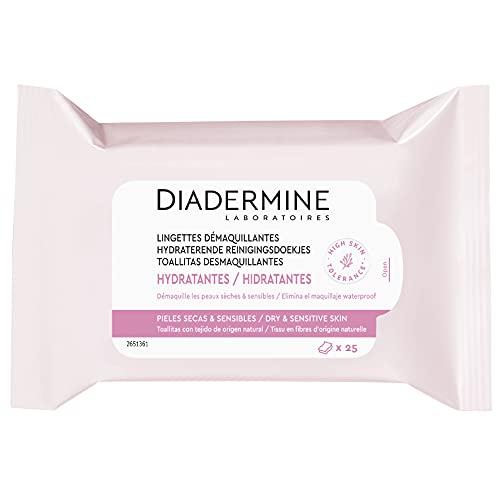 Diadermine - Lingettes Démaquillantes Nettoyantes Hydratantes - Peaux sèches et sensibles - Haute Tolérance - Paquet de 25 Pièces en fibres d'orgine naturelle