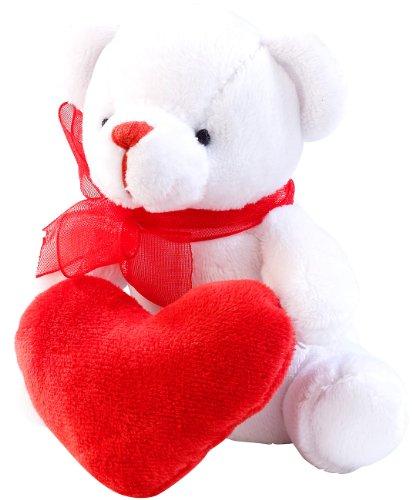 PEARL Teddybär: Romantisches Schmuse-Bärchen in Herzchen-Tasche (Teddy)
