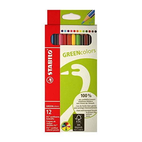 Stabilo GREENcolors Buntstifte mit Namen - individuell graviert - personalisiert - 12 Stück
