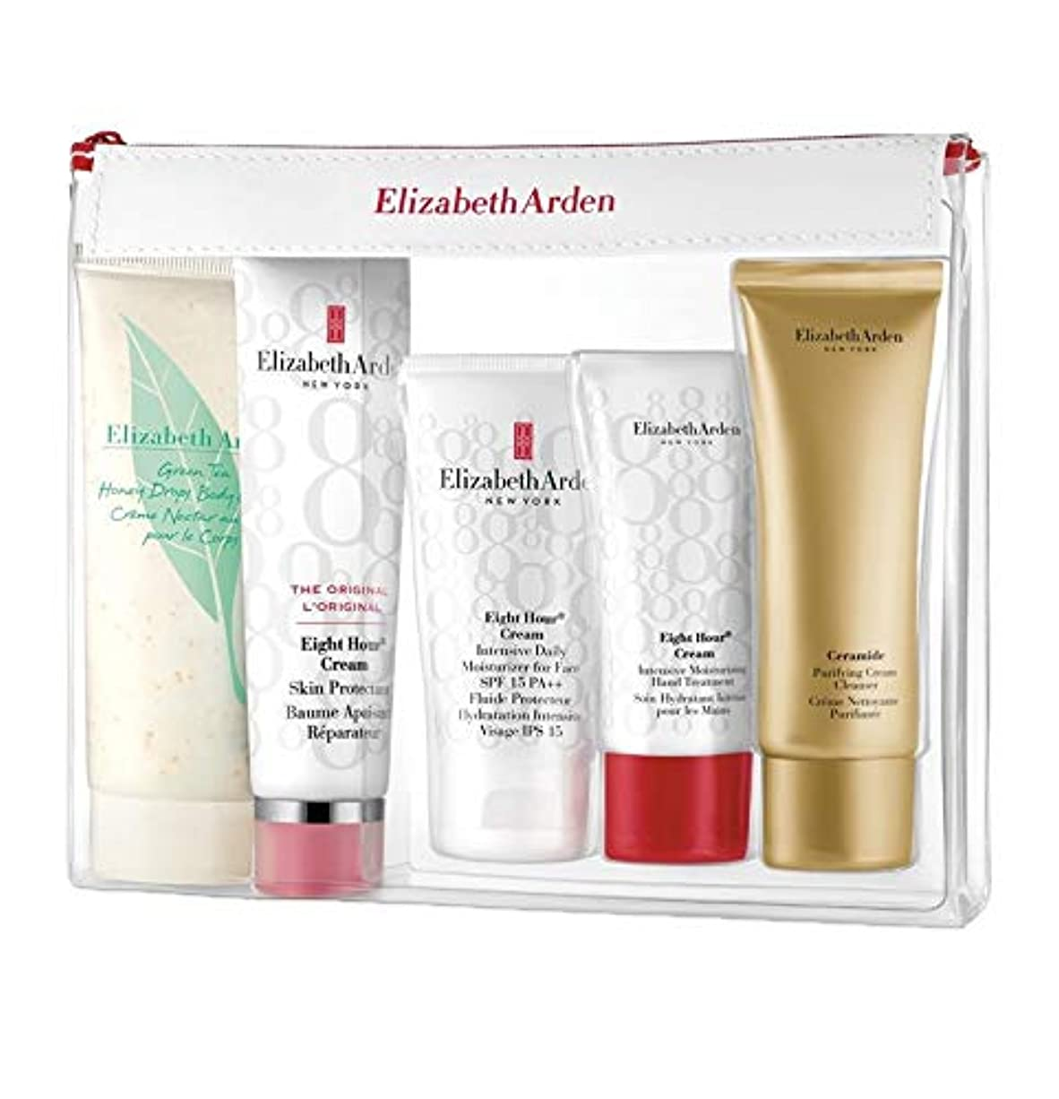 初期の著者まどろみのあるエリザベスアーデン Daily Beauty Essentials Set: Purifying Cream Cleanser+ Eight Hour Cream+ Eight Hour Cream SPF 15+ Ei 5pcs並行輸入品