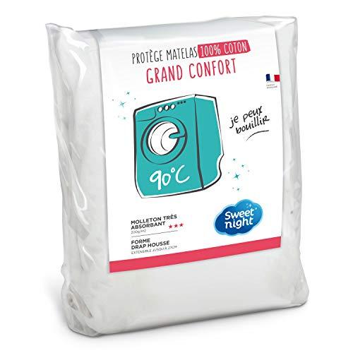 Sweet Night Romy matrasbeschermer zeer absorberend 100% katoen, zacht en comfortabel, wassen 90 °C katoen wit 90 x 200 cm