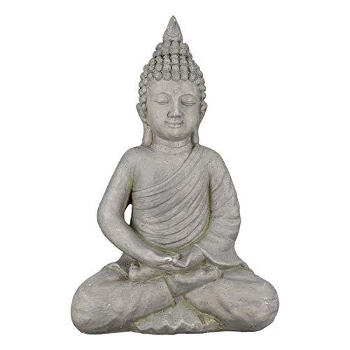 dekojohnson Figura decorativa de Buda tailandesa, para jardín, estatua japonesa, decoración de jardín, figura budista, accesorio para el hogar, color gris, 18 x 30 x 44 cm