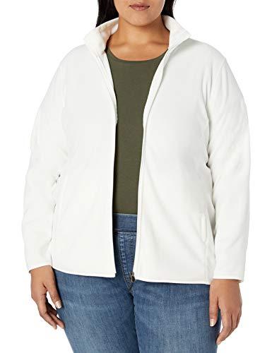 Amazon Essentials Women's Plus Size Full-Zip Polar Fleece Jacket, Ivory, 1X