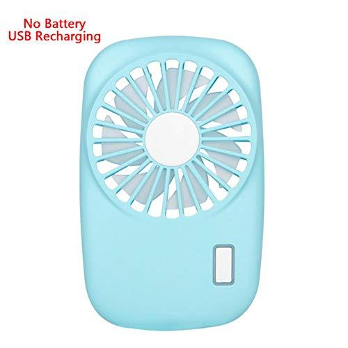 Bhu - Mini ventilatore portatile per casa, ufficio, scrivania, USB, ricaricabile, per ciglia, aria condizionata Blu