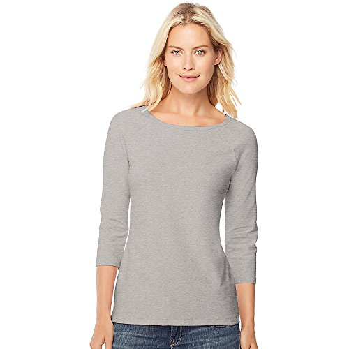 Hanes Stretch Cotton Women's Raglan Sleeve Tee_Grey Heather_XL