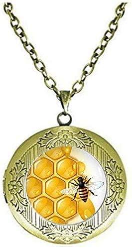 Honeycomb Locket Necklace Honey bee Jewelry Honeybee Honeycomb Jewelry Beekeeper Gift Art Picture Jewelry