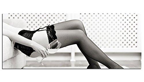 Glasbilder Wandbild AG312502123 Frau mit Weinglas in Unterwäsche 125 x 50cm / Deco Glass, Design & Handmade/Eyecatcher, Kunstdruck!