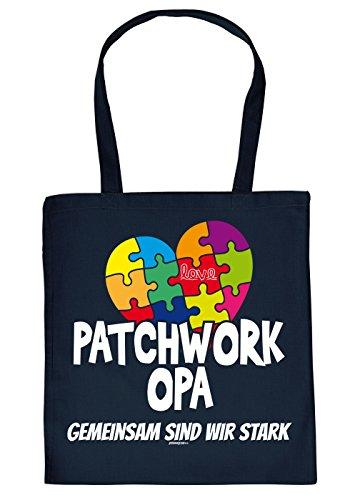 Opa Geschenk Tasche - Sprüche Baumwolltasche : Patchwork Opa gemeinsam - Einkaufstasche Geschenktasche Großvater + Urkunde Farbe: Navyblau