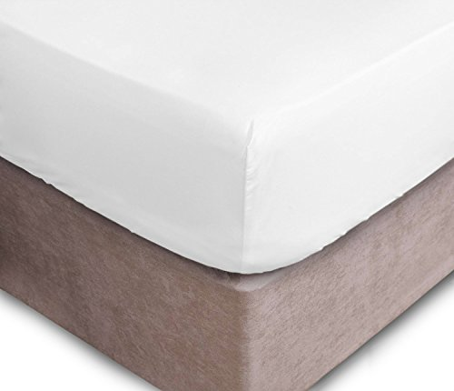 Extra Deep Fitted Sheets 16'/40CM Deep Finest Quality Bedsheets 16 Colours. (Double, White)