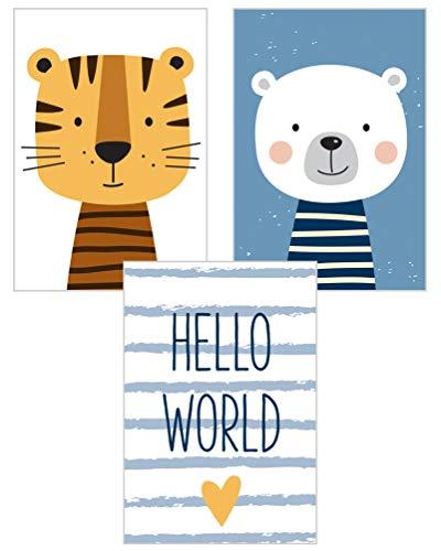Edition Seidel 3er Set Kinderzimmer Poster Babyzimmer DIN A4 ohne Bilderrahmen. Kinderposter Kunstdruck Bild Wandbilder Dekoration Mädchen Junge