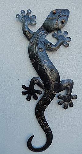 Trendshop-online XXL Gecko Eidechse Salamander Echse Wanddeko Metall Antiksilber 98 cm Gartendeko Blechfigur
