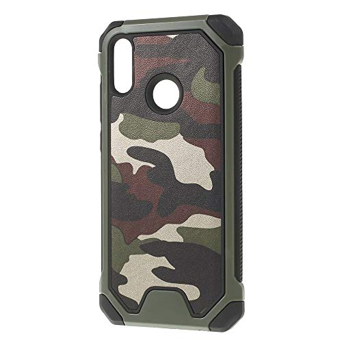 bagmaxx Outdoor Hülle TPU Hybrid Camouflage Schutz Hülle Trekking Cover Army Style Tran Fleck Muster Shell Grün für Huawei P Smart 2019