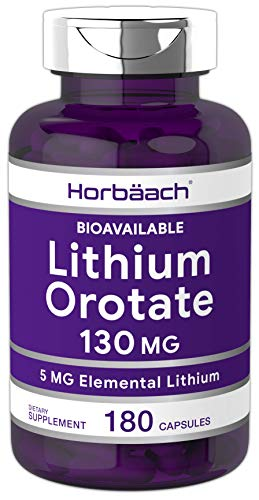 Lithium Orotate 130mg | 180 Capsules | Non-GMO, Gluten Free | 5mg Bioavailable Elemental Lithium | by Horbaach