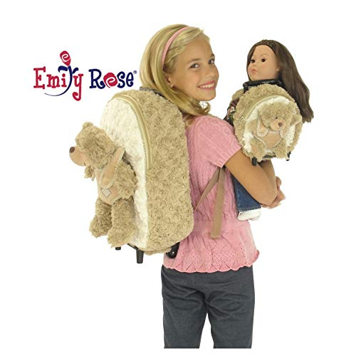 Emily Rose 18-inch Doll Luggage Clothes Storage | Girl Backpack and Doll Matching Backpack / Trolley Set with Detachable Teddy Bears | Fits American Girl Dolls