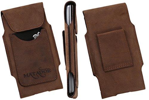 MATADOR Echt-Leder Gürteltasche kompatibel zu iPhone 7 Handytasche Slim Design Ledertasche Vertikaltasche in Antik Braun mit Gürtelschlaufe & EC./Kreditkartenfach