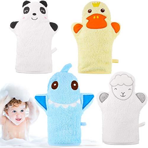 4 Piezas Guantes de Baño de Bebé Guantes de Paño Diseñado en Bonito Estilo Animal Lindo Toalla de Algodón Exfoliante Suave de Oveja Panda Tiburón Pato Amarillo para Bebé Niños Baño y Ducha