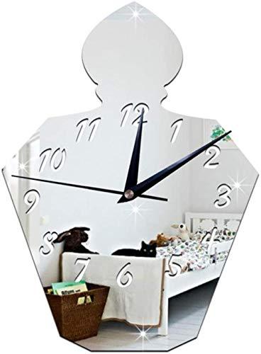 Clode Orologio da parete 30x22cm 3D DIY Bottiglia di profumo Specchio Orologio da parete Orologio Decorazione Set adesivi Effetto specchio Vetro acrilico Applique Decorazione rimovibile casa