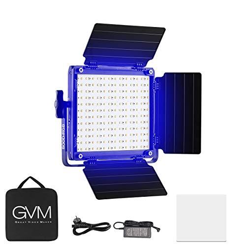 GVM LED Videoleuchte RGB, App Control LED Videolicht 3300K-5600k Farbtemperatur Studioleuchte Fotoleuchte mit Barndoor für Studio, YouTube, Produktfotografie, Videoaufnahme,CRI97