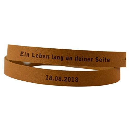 Wickelarmband Leder mit Gravur (Honey, 1 Armband) – personalisiertes Schmuckstück für die Freundin oder den Freund – einzeln oder für Partner im Set – personalisiert mit Deinem Wunschtext