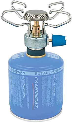 ALTIGASI Hornillo de gas de camping Bleuet Micro Plus – Marca Campingaz + 2 cartuchos de gas CV 300 con sistema extraíble – Producto ideal para camping