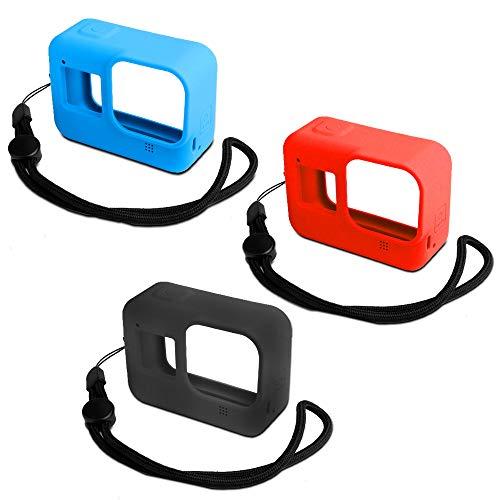 AFUNTA - Custodia protettiva in silicone per fotocamera Hero 8 Action Camera, 3 pezzi, con cordino per Go Pro Hero 8, antigraffio, anti-caduta, colore: Nero/Blu/Rosso