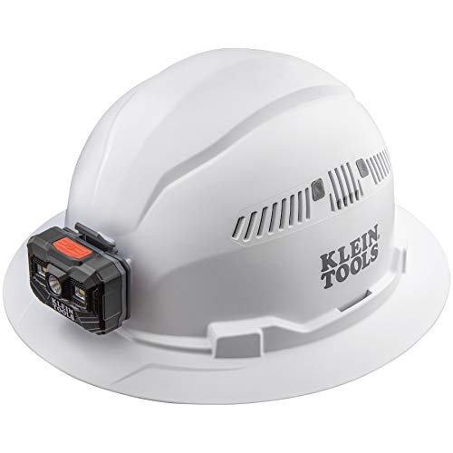 Klein Tools 60407RL Hard Hat with Rechargeable Headlamp, Vented, Full Brim Style, Padded Self-Wicking Odor-Resistant Sweatband, White