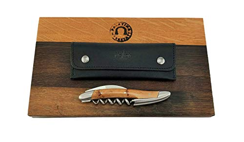 Forge de Laguiole Kellnermesser Sommelierbesteck - Griff Wacholder - Edelstahl matt INOX+schwarzes Lederetui+Schneidebrett aus Fassholz (Eiche) 25x15 cm