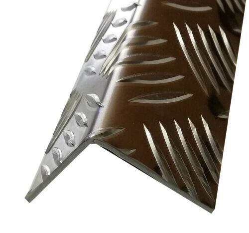 Alu-Winkel, 1000mm Aluwinkel 100x30 mm Schenkelinnenmaß aus Alu Riffelblech Quintett 3,5/5,0 mm stark L Schiene,Winkelprofil,