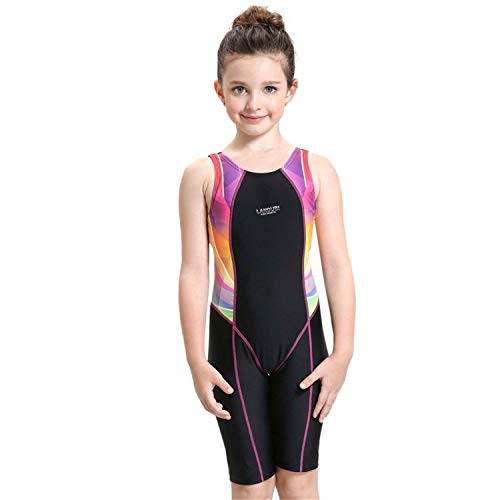 Peacoco Girls' Solid Splice Athletic One-Piece Swimsuits Racerback Competive Legsuit For 12-14 years