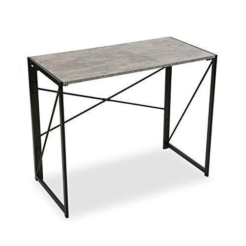 Versa Mesa de Escritorio para Ordenador Despacho Plegable Jack, Madera, Gris y Negro, 74 x 45 x 90 cm