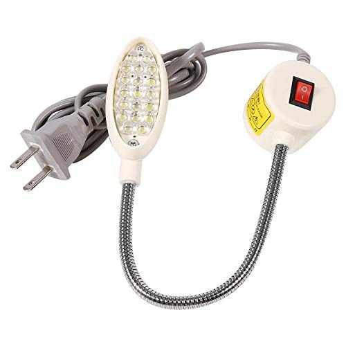 Akozon Máquina de Coser Luz Lámpara de Cuello de Cisne Interruptor de Base Magnética Montaje Flexible(19 Leds)
