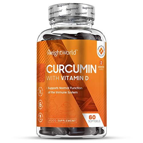 Curcumine 500 mg + Vitamine D Haute Absorption x 185-60 capsules molles WeightWorld | Complément alimentaire avec du Curcuma Longa | Antioxydant peau, os, articulations - Turmeric Curcumin 2 mois